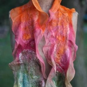 Wet Felting a Wool/Silk Scarf with Ducky (day)