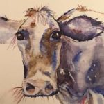 Water color painting cow