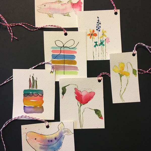 Make your gifts amazing with original watercolor gift tags…DIY